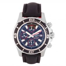 Second Hand Breitling Superocean Black Leather Strap Watch A1334102-BA81 228X