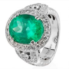 Second Hand 18ct White Gold Emerald and Diamond Cluster Ring 4228308