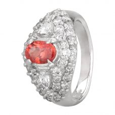 Second Hand Platinum 1.00ct Padparadscha Sapphire and Diamond Cluster Ring L