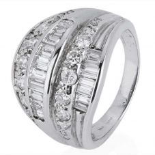 Second Hand 14ct White Gold Baguette and Brilliant Diamond Ring
