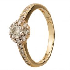 Second Hand 9ct Yellow Gold 0.25ct Diamond Cluster Ring
