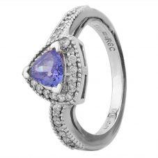 Second Hand 14ct White Gold Trillion Cut Tanzanite and Diamond Halo Twist Ring GMC(39/6/17)