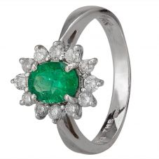 Second Hand 14ct White Gold 0.85ct Emerald and Diamond Cluster Ring GMC(39/7/4)
