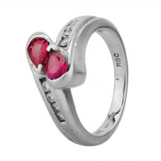 Second Hand 14ct White Gold Ruby And Diamond Cross Over Ring