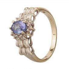Second Hand 14ct White Gold Tanzanite and Diamond Fancy Cluster Ring 4229667