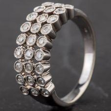 Second Hand 18ct White Gold Diamond 3 Row Ring 4229874
