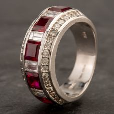 Second Hand 14ct White Gold Ruby and Diamond Band Ring 4229889