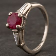 Second Hand Platinum Ruby and Diamond Shoulders Ring 4232014