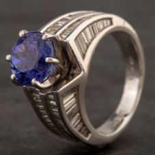 Second Hand Platinum Tanzanite Baguette Cut Diamond Shoulders Ring 4232032