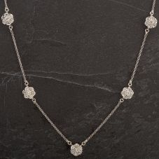 Second Hand 14ct White Gold Five Stone Diamond Cluster Necklace 4304074