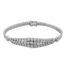 Second Hand 14ct White Gold 6.57ct Diamond Double Row Bracelet