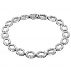 Second Hand 18ct White Gold 1.50ct Diamond Oval Loop Link Bracelet