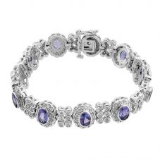 "Second Hand 9ct White Gold 7"" Tanzanite and Diamond Bracelet GMC(109/2/6)"
