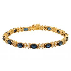 Second Hand 9ct Yellow Gold Sapphire and Diamond Bracelet GMC(117/01/01)
