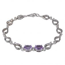 Second Hand 18ct White Gold Amethyst and Diamond Fancy Bracelet