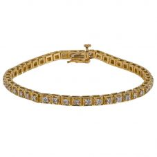 Second Hand 9ct Yellow Gold Diamond Tennis Bracelet 4307717