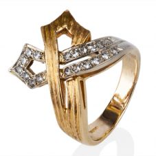 Second Hand 9ct Yellow Gold Stone Set Cross Over Ring