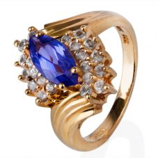 Second Hand 14ct Yellow Gold Blue Marquise Cubic Zirconia Cluster Ring