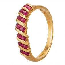 Second Hand 14ct Yellow Gold Ruby Half Eternity Ring