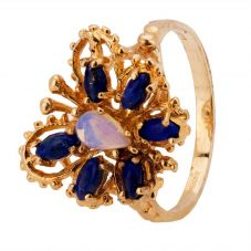 Second Hand 9ct Yellow Gold Blue Opal Butterfly Ring 4309128