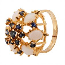 Second Hand 9ct Yellow Gold Opal and Sapphire Ring 4309136