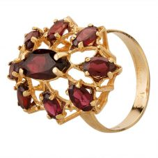 Second Hand 9ct Yellow Gold Garnet Cluster Ring GMC(84/2/18)