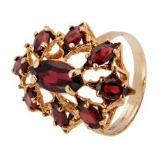 Second Hand 9ct Yellow Gold Garnet Cluster Ring