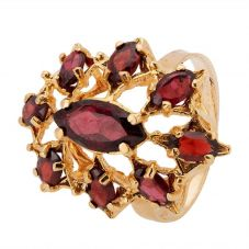 Second Hand 9ct Yellow Gold Garnet Cluster Ring 4309140