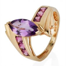 Second Hand 9ct Yellow Gold Amethyst Twist Ring 4309188
