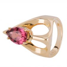 Second Hand 9ct Yellow Gold Pink Tourmaline Solitaire Ring 4309196