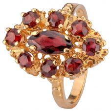 Second Hand 9ct Yellow Gold Nine Stone Garnet Ring 4309200