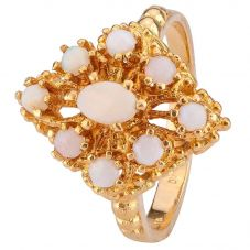Second Hand 9ct Yellow Gold Nine Stone Opal Ring 4309201