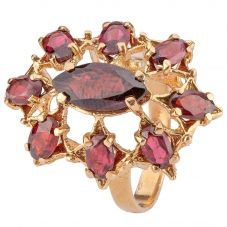 Second Hand 9ct Yellow Gold Nine Stone Garnet Cluster Dress Ring 4309205
