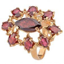 Second Hand 9ct Yellow Gold Nine Stone Garnet Ring 4309205