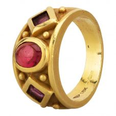 Second Hand 14ct Yellow Gold Pink Tourmaline and Amethyst Three Stone Ring
