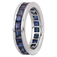 Second Hand Platinum 4.00ct Square Cut Sapphire Full Eternity Ring