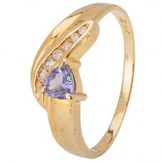 Second Hand 14ct Yellow Gold Tanzanite and Diamond Ring