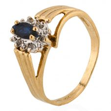 Second Hand 9ct Yellow Gold Sapphire and Diamond Cluster Ring 4311038