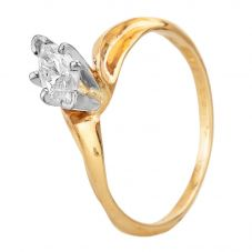 Second Hand 14ct Yellow Gold 0.20ct Marquise Cut Diamond Solitaire Ring