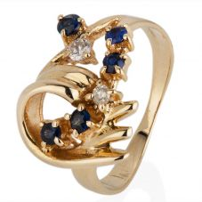 Second Hand 9ct Yellow Gold Sapphire and Diamond Ring