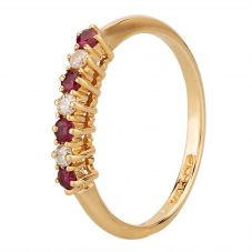 Second Hand 14ct Yellow Gold Ruby and Diamond Half Eternity Ring