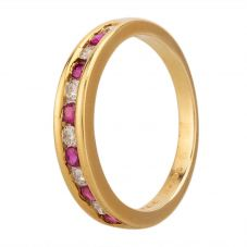Second Hand 14ct Yellow Gold Ruby and Diamond Half Eternity Ring GMC(81/1/32)