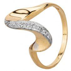 Second Hand 9ct Yellow Gold Diamond Swirl Ring