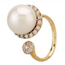 Second Hand 14ct Yellow Gold South Sea Pearl & 0.70ct Diamond Ring