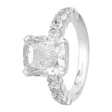 Second Hand 14ct White Gold 5.02ct Cushion-cut Diamond Ring