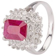 Second Hand 14ct White Gold Ruby and Diamond Ring 4312058