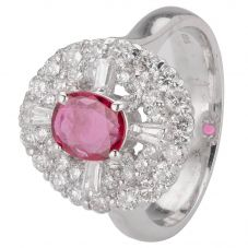 Second Hand 14ct White Gold Ruby and Diamond Ring 4312060