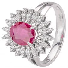 Second Hand 18ct White Gold Ruby and Diamond Ring