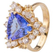 Second Hand 14ct Yellow Gold Tanzanite and Diamond Ring 4312065