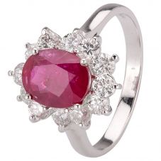 Second Hand 18ct White Gold Ruby and Diamond Ring 4312066